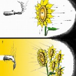 Political Cartoon Answer Bullets with Light copyright 2011 by Iranian American Cartoonist and Artist Kaveh Adel