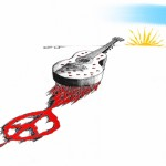 Political Cartoon In Memory of Argentine Singer-Songwriter Facundo Cabral copyright 2011 by Iranian American Cartoonist Kaveh Adel