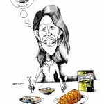 Political Cartoon Michele Bachmann&#039;s Chutzpah Faux Pas copyright 2011 by Iranian American Cartoonist Kaveh Adel