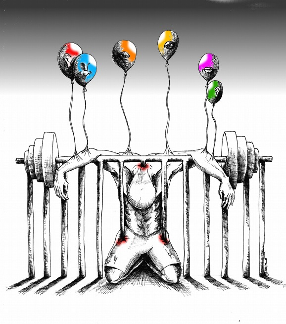 Political Cartoon The Divided Lift copyright 2011 by Iranian American Cartoonist and Artist Kaveh Adel
