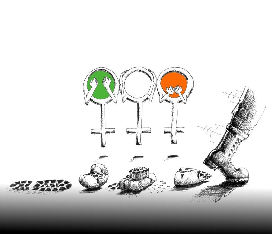 Political Cartoon Women Hear, See, speak no evil 2011Copyright Iranian American Cartoonist Kaveh Adel