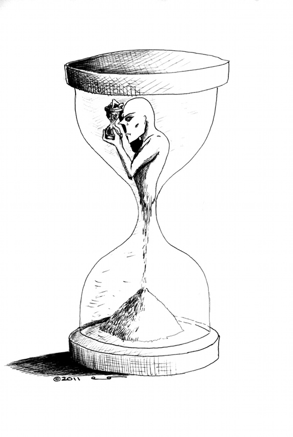 Cartoon Procrastination copyright 2011 by Iranian American Cartoonist and Artist Kaveh Adel