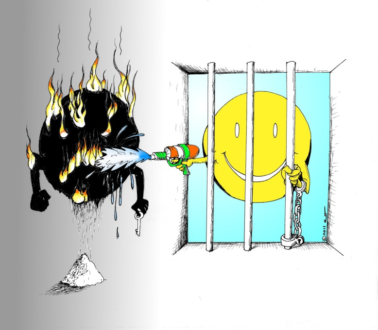 Political-Cartoon-Captive Festival of Fire and Water-by-copyright-2011-by-Iranian-American-Cartoonist-and Artist Kaveh-Adel