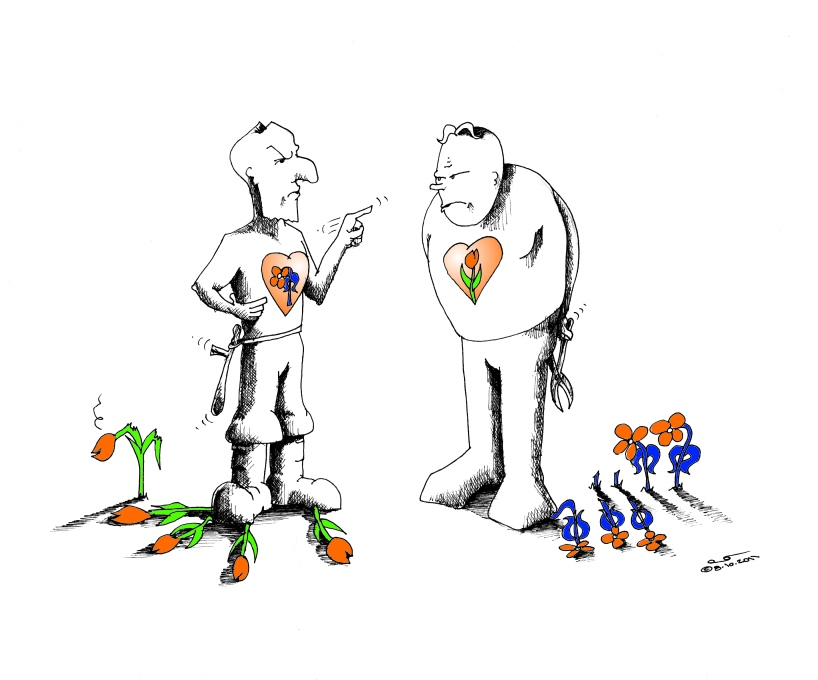 Political Cartoon Gardeners of Riots by copyright-2011-by-Iranian American Cartoonist and Artist Kaveh Adel