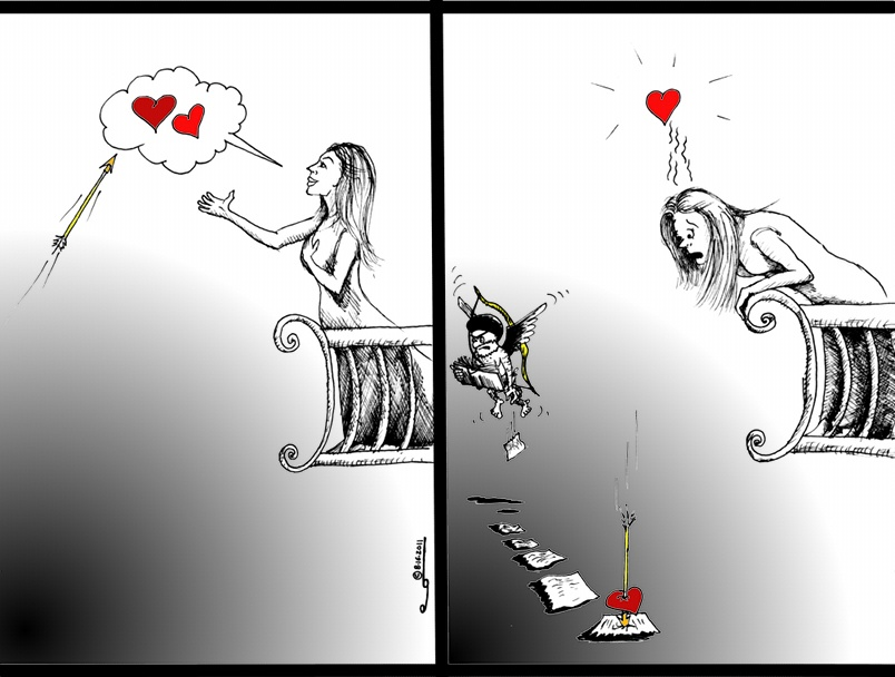 "Political Cartoon: "" No Romeo, Juliet, No Khosrow, Shirin""  By Iranian American Cartoonist Kaveh Adel"