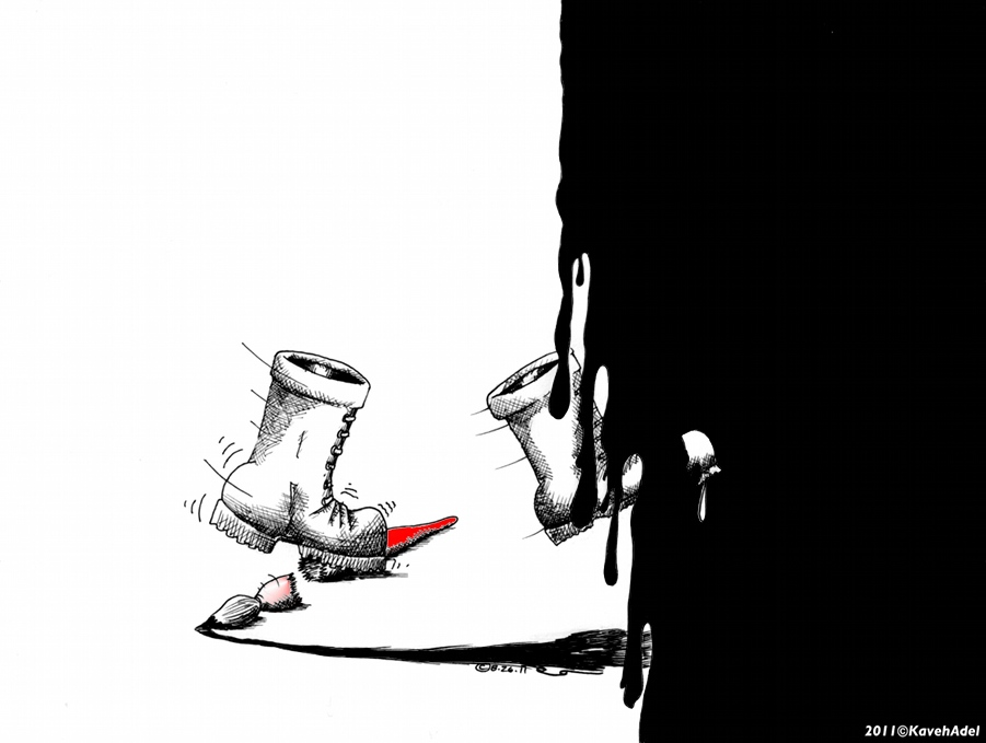 "Political Cartoon: ""For Ali Ferzat"" copyright 2011 by Iranian American Cartoonist and Artist Kaveh Adel"