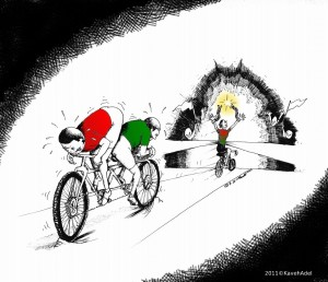 "Political cartoon: ""Reform Cyclist"" by Kaveh Adel"