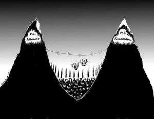 "Political Cartoon: ""Two Hikers, Two Mountains"" By Iranian American Cartoonist and Artist Kaveh Adel"