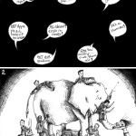 Political Cartoon: &quot;Fable of Blind Politicians and the Elephant&quot; by Iranian American Cartoonist and Artist Kaveh Adel