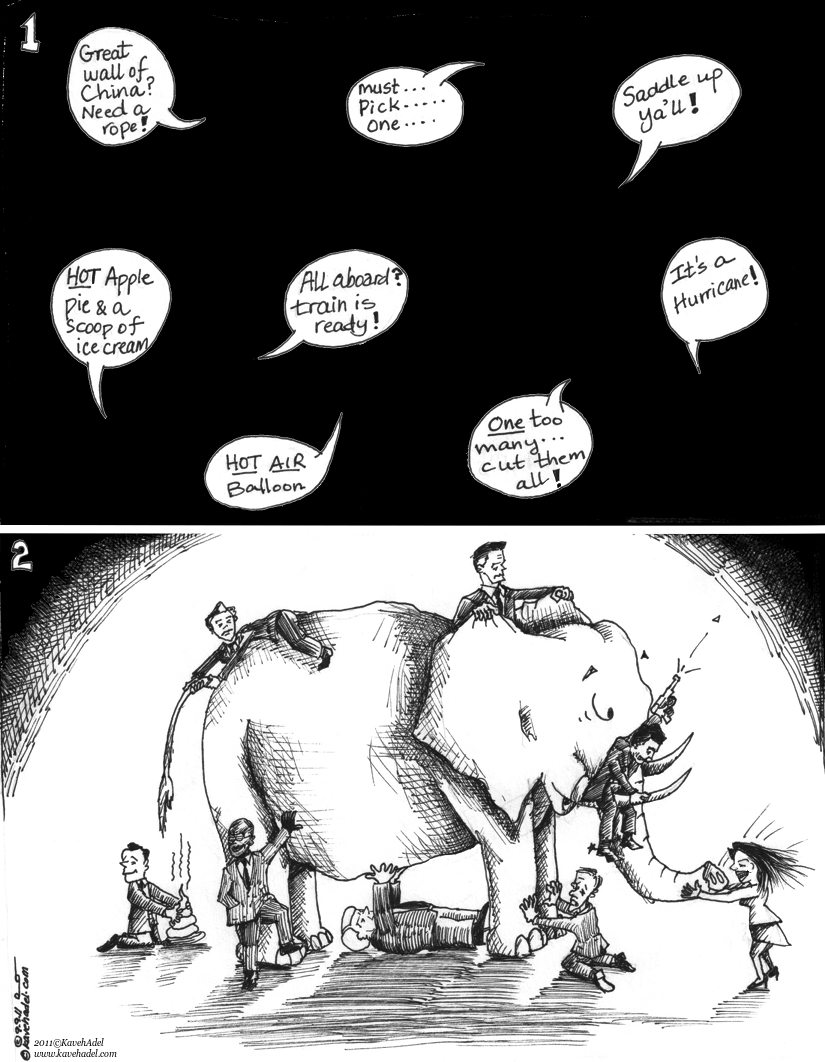 "Political Cartoon: ""Fable of Blind Politicians and the Elephant"" by Iranian American Cartoonist and Artist Kaveh Adel"