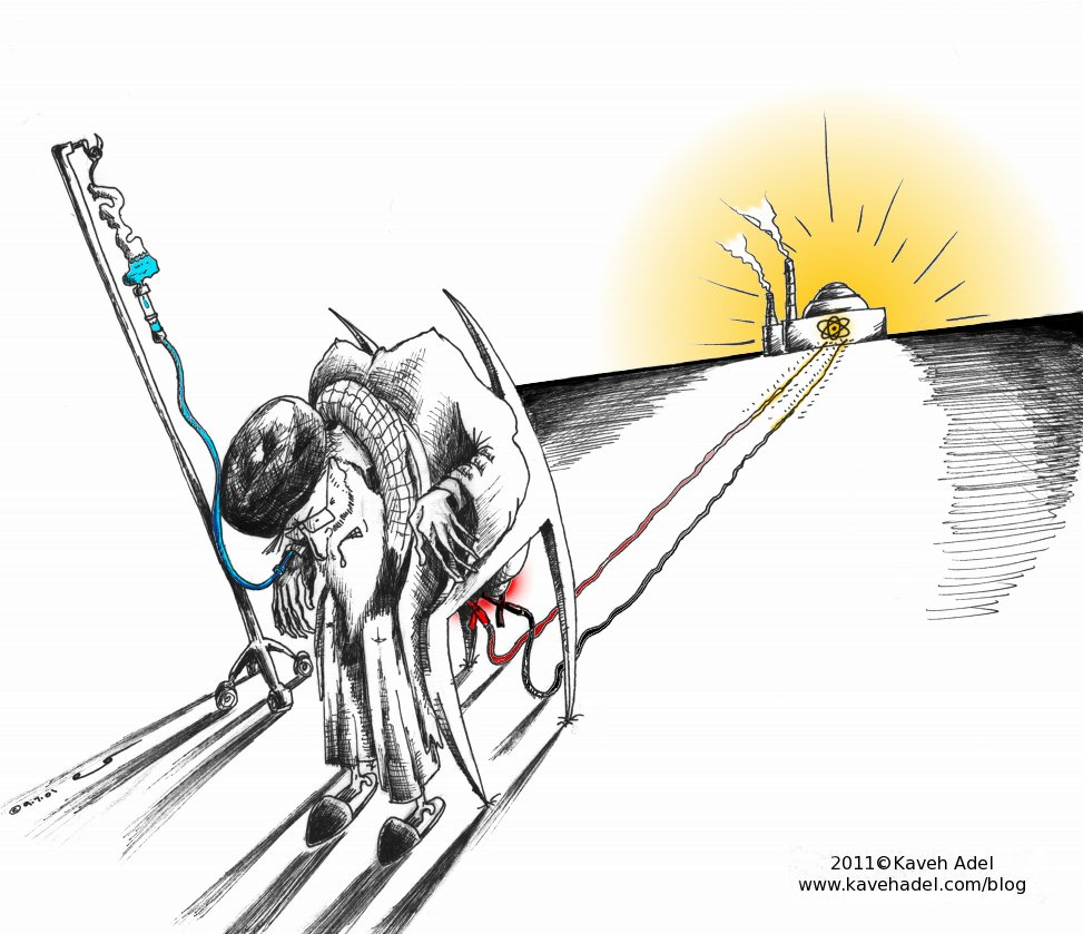 Political Cartoon: Nuclear Jump start by Kaveh Adel, Iranian American Cartoonist and Artist