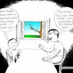 "Adventures with Aspergers Cartoon: ""Look Outside"" by Iranian American Cartoonist and Artist, Kaveh Adel."