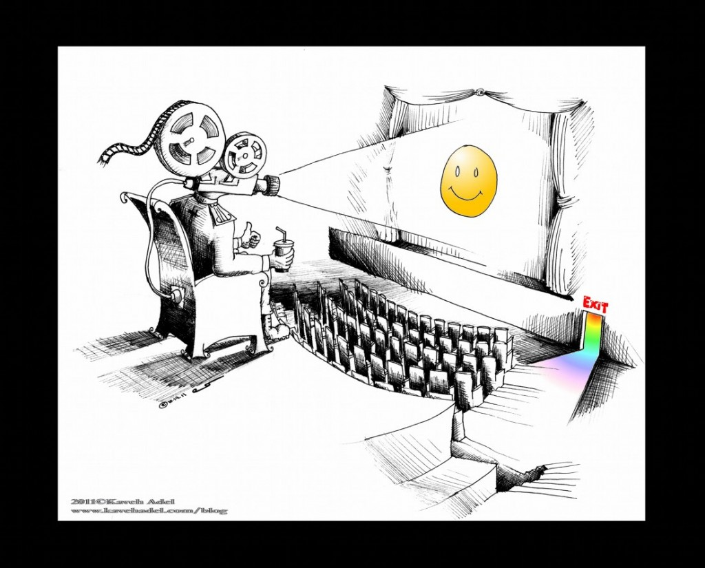 Political Cartoon Delusional Hypocrisy copyright 2011 by Iranian American Cartoonist and Artist Kaveh Adel