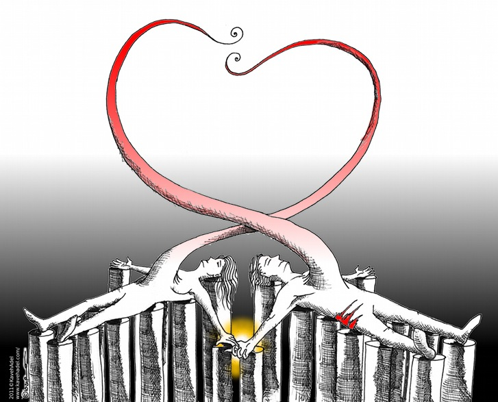 Political Cartoon For Behnam and Nahal copyright 2011 by Iranian American Cartoonist and Artist Kaveh Adel