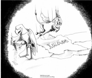 Political Cartoon The Flying Donkey and the Hawk copyright 2011 by Iranian American Cartoonist and Artist Kaveh Adel