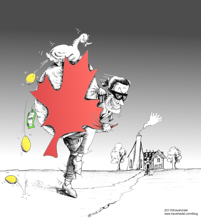 Political-Cartoon-Thief and the Maple Leaf-copyright-2011-by-Iranian-American-Cartoonist-and-Artist-Kaveh-Adel