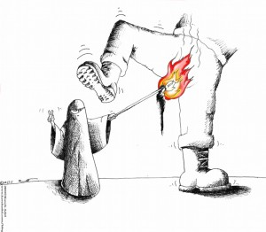 Political Cartoon Yemeni Veils Ablaze 2011 by Iranian American Cartoonist and Artist Kaveh Adel