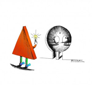 Cartoon-Different Thinking copyright-2011-by-Iranian-American-Cartoonist-and-Artist-Kaveh-Adel-