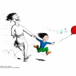 "Cartoon: ""Parenthood"" 2011 by Iranian American Cartoonist and Artist Kaveh Adel"