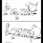 Political Cartoon 99 percent and 1 percent Reactive and Creative 2011 by Iranian American Cartoonist and Artist Kaveh Adel