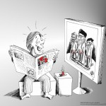 Political Cartoon Butt Grab or Balls 2011 by Iranian American Cartoonist and Artist Kaveh Adel