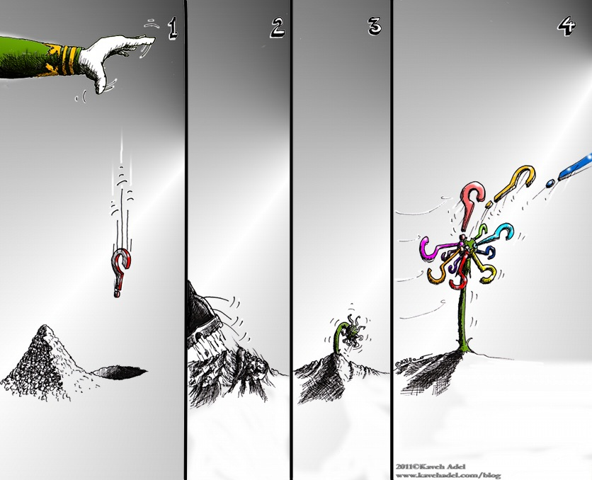 Political Cartoon: &quot;Dandelion&quot; by Iranian American Cartoonist and Artist Kaveh Adel. 