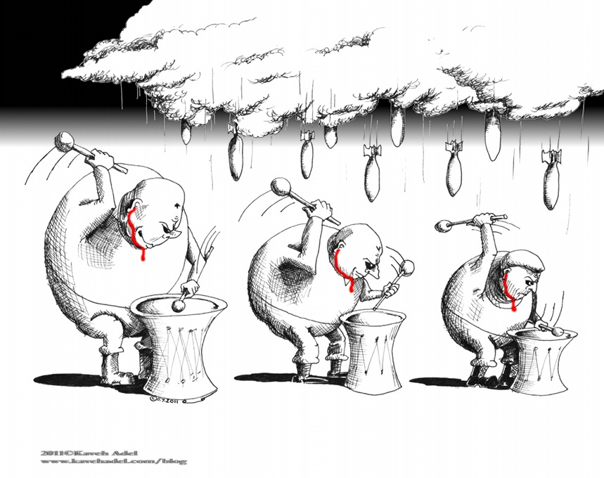Political Cartoon Drumbeats for Rain 2011 by Iranian American Cartoonist and Artist Kaveh Adel