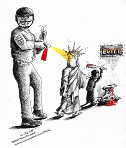 Political Cartoon Expression of Freedom From UC to Tahrir 2011 by Iranian American Cartoonist and Artist Kaveh Adel
