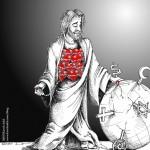 Political Cartoon Jesus the Suicide Bomber of Love 2011 by Iranian American Cartoonist and Artist Kaveh Adel