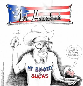 Political Cartoon Nonmacher BBQ Non Sequitur On Bigotry 2011 by Iranian American Cartoonist and Artist Kaveh Adel