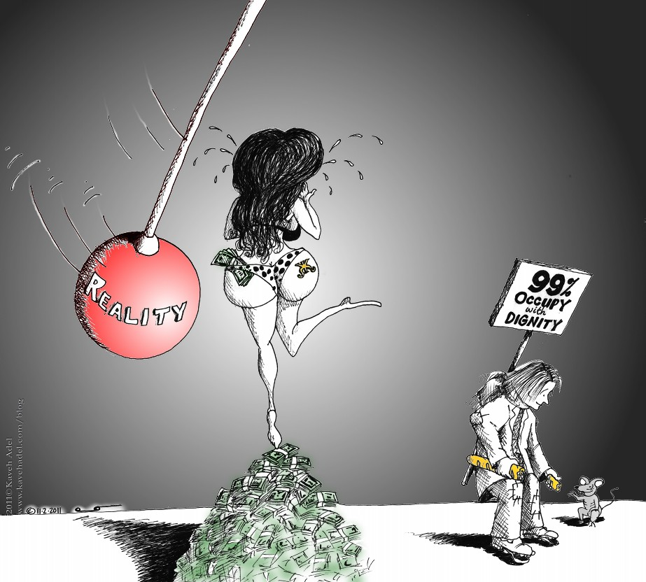 Political Cartoon Reality Humanity Dignity 2011 by Iranian American Cartoonist and Artist Kaveh Adel