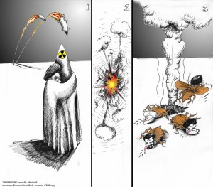 Political Cartoon The Real Iran Nuclear Threat 2011 by Iranian American Cartoonist and Artist Kaveh Adel