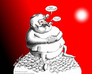 Political Cartoon: &quot;Vision beyond the Tip of the Nose&quot; 2011 by Iranian American Cartoonist and Artist Kaveh Adel