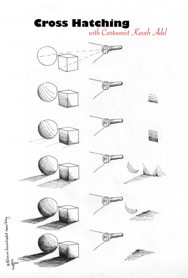 Cartooning Tutorial Cross hatching 2011 by Iranian American Cartoonist and Artist Kaveh Adel