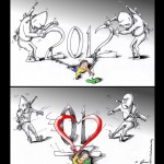 Popular Culture Cartoon &quot;2012&quot; by Iranian American Cartoonist and Artist Kaveh Adel