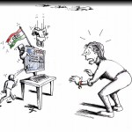 "Political Cartoon: ""Fly by the Stormed Virtual Embassy"" by Iranian American Cartoonist and Artist Kaveh Adel"