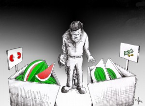 "Political Cartoon: ""Inflated Watermelons for Yalda Night"" 2011 by Iranian American Cartoonist and Artist Kaveh Adel"