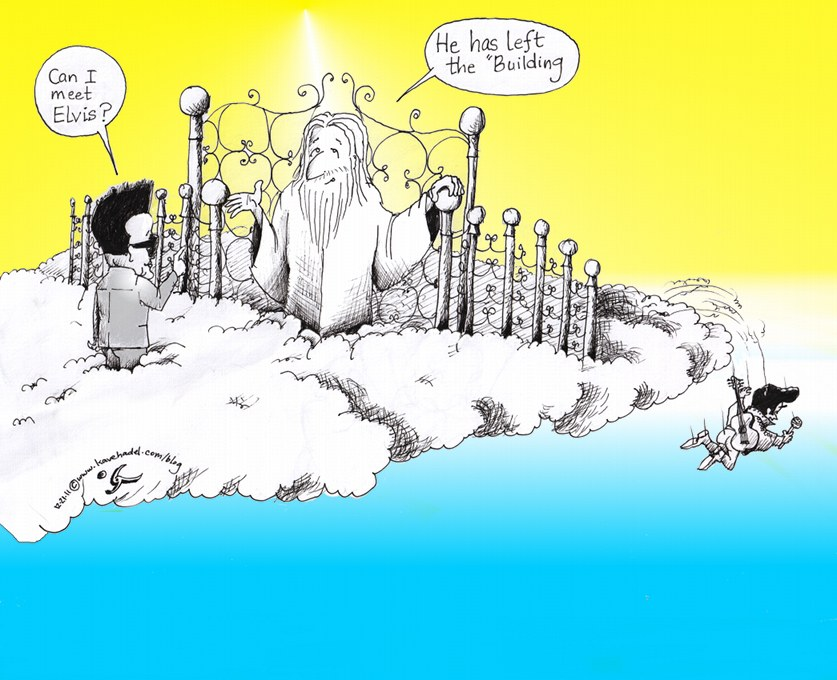 "Political Cartoon: ""Kim Jong Il, Heaven and Elvis"" by Iranian American Cartoonist and Artist Kaveh Adel."