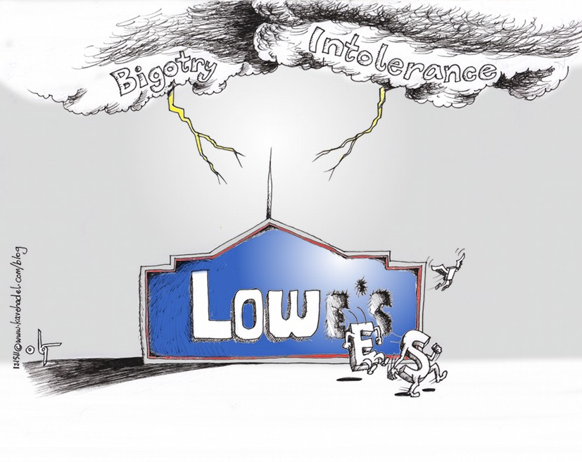 "Political Cartoon: ""Lowes Haning Lightning Rod of Tolerance"" by Iranian American Cartoonist and Artist Kaveh Adel"