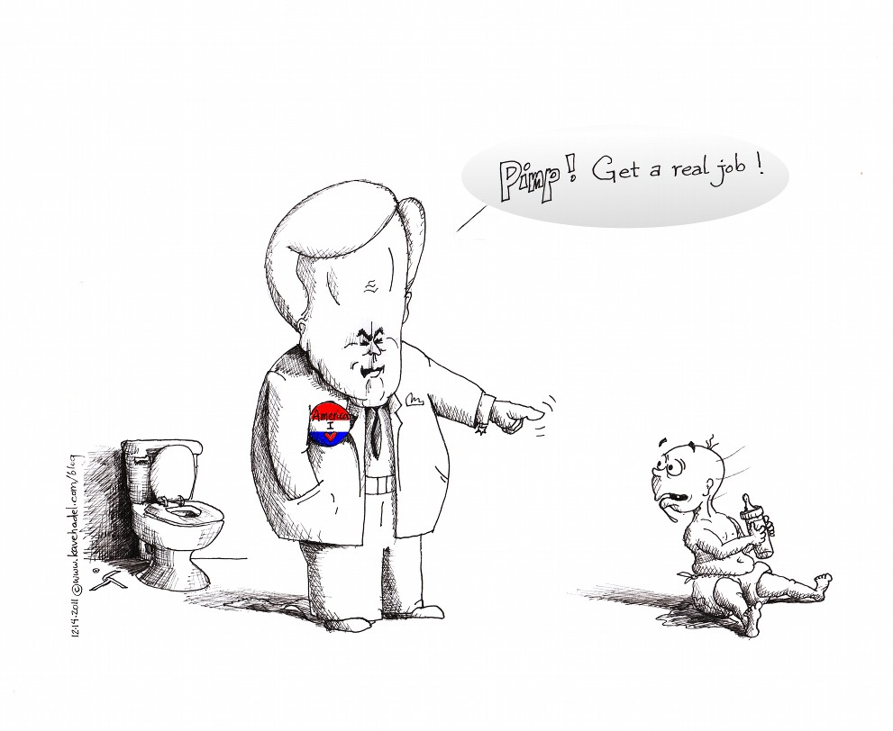 "Political Cartoon: ""Newt, the Compassionate"" 2011 by Iranian American Cartoonist and Artist Kaveh Adel"