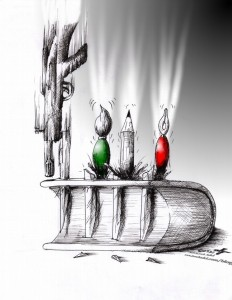 "Political Cartoon: ""Students Day 2011 16 Azar 1390"" by Iranian American Cartoonist and Artist Kaveh Adel"