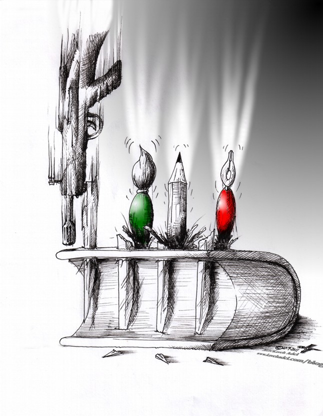 "Political Cartoon: ""Students Day 2011 16 Azar 1390"" by Iranian American Cartoonist and Artist Kaveh Adel"
