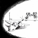 "Political Cartoon: ""The Shoe Throwing Drone Attack"" 2011 by Iranian American Cartoonist and Artist Kaveh Adel"