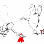 "Political Cartoon""Draw the line"" by Iranian American Cartoonist and Artist Kaveh Adel"