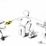 "Political Cartoon: ""Nuclear Frisbee"" by Iranian American Cartoonist Kaveh Adel."