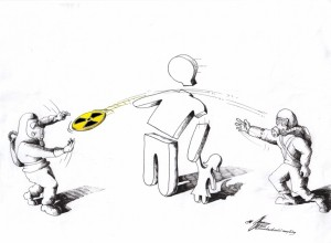 Political Cartoon: &quot;Nuclear Frisbee&quot; by Iranian American Cartoonist Kaveh Adel.