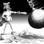 "Political Cartoon: ""Strait of Don Quixote de la Hormuz"" by Iranian American Cartoonist Kaveh Adel."