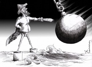 Political Cartoon: &quot;Strait of Don Quixote de la Hormuz&quot; by Iranian American Cartoonist Kaveh Adel.
