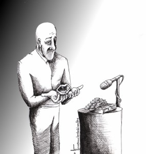 Political Cartoon: &quot;The Speech&quot; 2012 by Iranian American Cartoonist and Artist Kaveh Adel