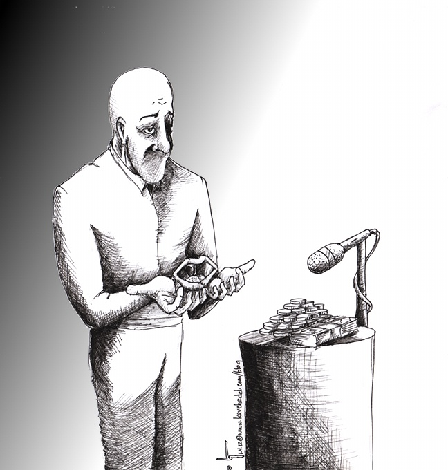 "Political Cartoon: ""The Speech"" 2012 by Iranian American Cartoonist and Artist Kaveh Adel"